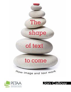 River stones n the cover of The Shape of Text to Come