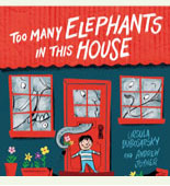 Book cover with a boy outside a house full of elephants