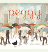 Book cover with a street scene and umbrellas in the rain