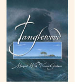 Book cover with an image of an island and a wave