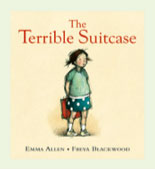 Book cover with title and a child carrying a suitcase