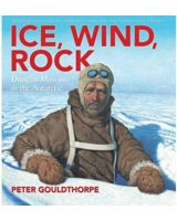 Book cover depicting a man in the Antarctic