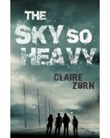 Book cover with a group of four people under a dark cloudy sky