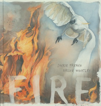 Sulphur crested cockatoo escaping flames on cover