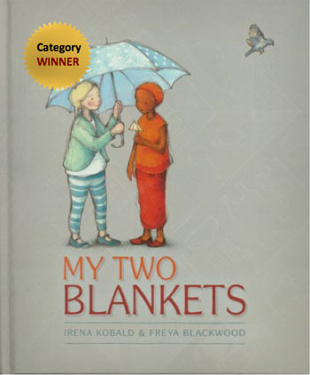 Girls beneath a shared umbrella on the cover