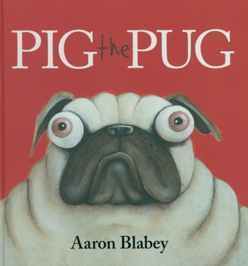 Perplexed pug dog on book cover
