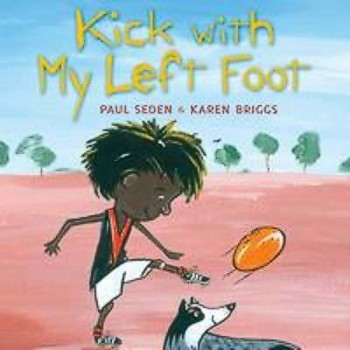 Cartoon of a kid kicking a football with his dog watching