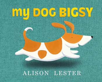 A ginger and white dog (Bigsy) running against  turquoise fabric on cover
