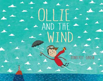 Ollie flying over water, propeled by the umbrella he holds, on cover