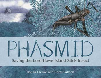 Cover with illustatin of the stick insect by the shoreline of Lord Howe Island