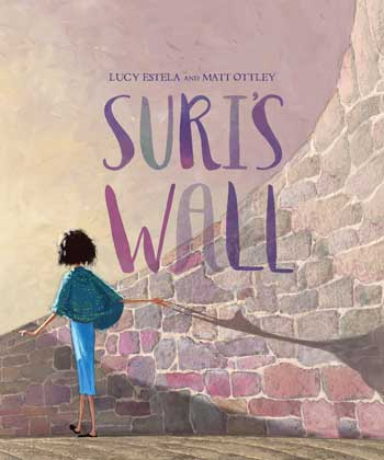 Suri runing his hands along the bricks of the wall on the cover