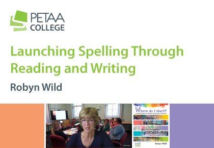 Launching Spelling Through Reading and Writing, banner with author photo linked to booking page