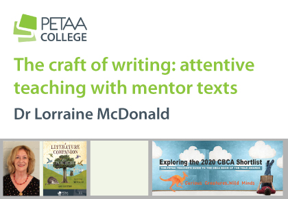 The craft of writing: attentive teaching with mentor texts, banner with author photo liked to booking page