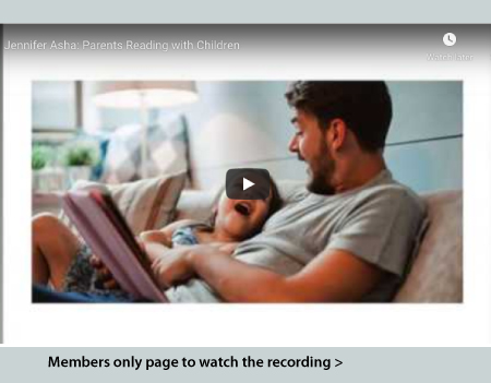 Image of parent readin to child linked to members only recordings page
