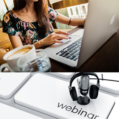 Image of woman at computer and text 'webinar' on keyboard