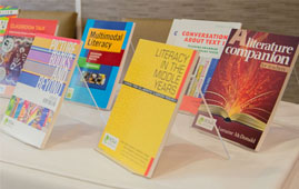 A display of several PETAA titles