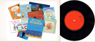 Montage of book covers of a record sleeve
