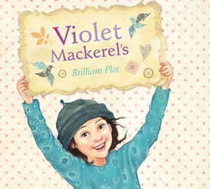 Cover with Violet holding the title on a card