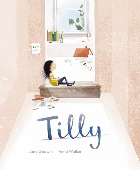 Gilr on seat under a window on cover of Tilly